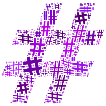 Purple Hashtag Cloud