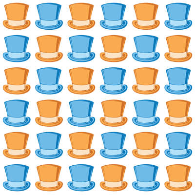 Blue and Orange Top Hat Pattern
