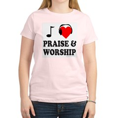 I HEART PRAISE AND WORSHIP Women's Light T-Shirt