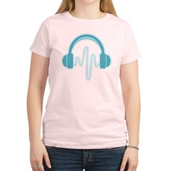 Blue Headphones Maternity Tee (Dark) Women's Light T-Shirt