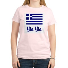 Yia Yia with Greek Flag Women's Light T-Shirt