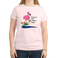 Flamingo on vacation with martini on Women's Light T-Shirt