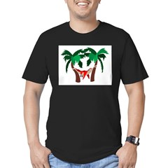 Macaw in Palms Men's Fitted T-Shirt (dark)