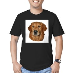 Head Study Golden Retriever Ash Grey Men's Fitted T-Shirt (dark)