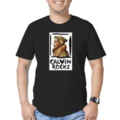 Calvin Rocks Men's Fitted T-Shirt (dark)
