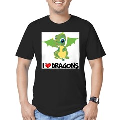 I Love Dragons Ash Grey Men's Fitted T-Shirt (dark)