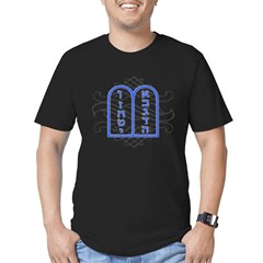 Blue Ten Commandments Tablets Men's Fitted T-Shirt (dark)