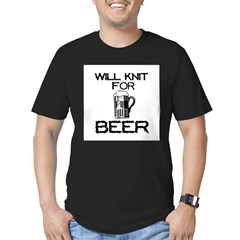 Will Knit for Beer Men's Fitted T-Shirt (dark)