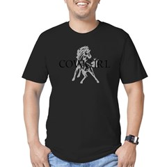 cowgirl & mustang Men's Fitted T-Shirt (dark)