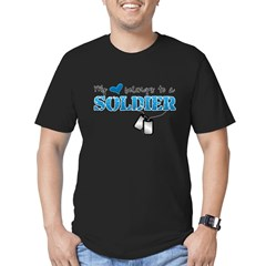 My heart belongs to a Soldier Men's Fitted T-Shirt (dark)