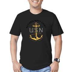 RETIREDNAVYCHIEF Men's Fitted T-Shirt (dark)