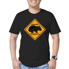 Wombat Danger Men's Fitted T-Shirt (dark)