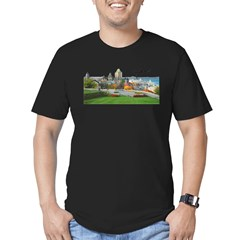 Old Quebec Pano with Signatur Men's Fitted T-Shirt (dark)