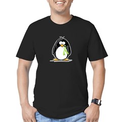 Light Green Ribbon Penguin Men's Fitted T-Shirt (dark)