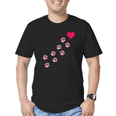 Pink Paw Prints To My Hear Men's Fitted T-Shirt (dark)
