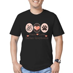 Peace Love Italian Greyhound Men's Fitted T-Shirt (dark)
