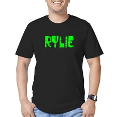 Rylie Faded (Green) Men's Fitted T-Shirt (dark)
