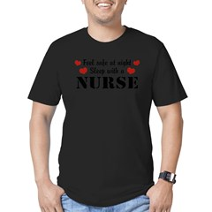 Feel Safe Sleep with a Nurse Men's Fitted T-Shirt (dark)