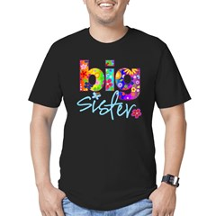 2-big sister flower back Men's Fitted T-Shirt (dark)