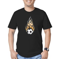 Soccer Ball & Flame Men's Fitted T-Shirt (dark)