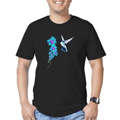 Humming Bird In Blue Men's Fitted T-Shirt (dark)