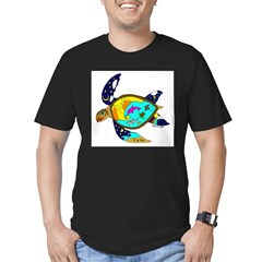 Earth Day Sea Turtle Men's Fitted T-Shirt (dark)
