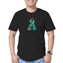 Flower Ribbon OVARIAN CANCER Men's Fitted T-Shirt (dark)