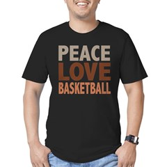 Peace Love Basketball Men's Fitted T-Shirt (dark)