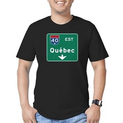 Quebec, Canada Hwy Sign Men's Fitted T-Shirt (dark)
