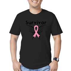 TribalButterflyBreastCancer Men's Fitted T-Shirt (dark)