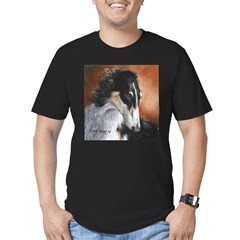Borzoi by Dawn Secord Men's Fitted T-Shirt (dark)