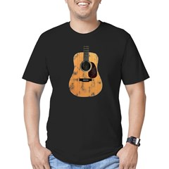 Acoustic Guitar (worn look) Men's Fitted T-Shirt (dark)