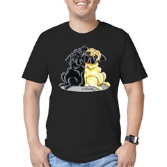 Black Fawn Pug Men's Fitted T-Shirt (dark)