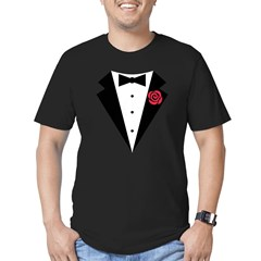 Funny Tuxedo [red rose] Men's Fitted T-Shirt (dark)