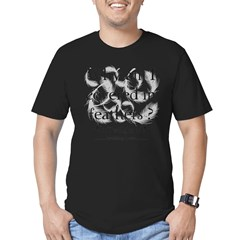 Why am I covered in feathers? Men's Fitted T-Shirt (dark)