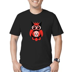 Red Sugar Skull Owl Men's Fitted T-Shirt (dark)
