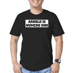 ARNOLD is NUMERO UNO Ash Grey Men's Fitted T-Shirt (dark)