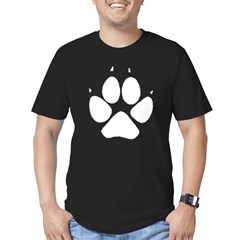 Dog Track Pawprint Black Men's Fitted T-Shirt (dark)