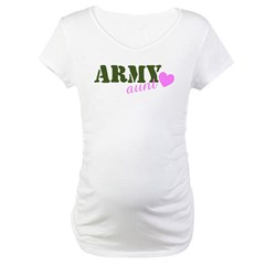 Army Aunt Green & Pink Hear Maternity T-Shirt