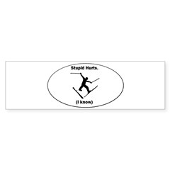 Skiing Stupid Hurts Oval Sticker (Bumper 10 pk)