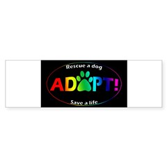 Adopt Sticker (Multi on Black) Sticker (Bumper 10 pk)