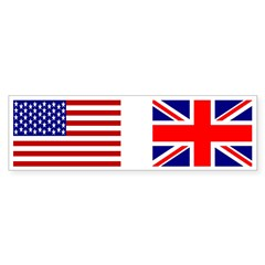 USA & Union Jack Rectangle Sticker (Bumper 10 pk)