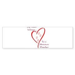 Min Pin Heart Belongs Rectangle Sticker (Bumper 10 pk)