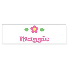 "Pink Daisy - ""Maggie"" Rectangle Sticker (Bumper 10 pk)"