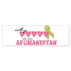 Yellow ribbon/My heart is in Sticker (Rectangular Sticker (Bumper 10 pk)