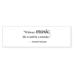 Without music, life is a mist Sticker (Rectangular Sticker (Bumper 10 pk)