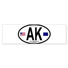Alaska Sticker Euro Style (Oval) Sticker (Bumper 10 pk)