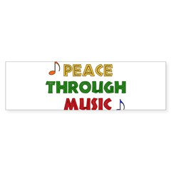 Peace Through Music Rectangle Sticker (Bumper 10 pk)