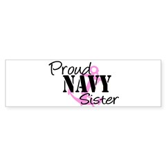 Proud Navy Sister - Pink Anch Sticker (Rectangular Sticker (Bumper 10 pk)