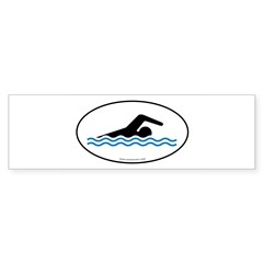 Swimming Auto Decal -White w/ Blue Water (Oval) Sticker (Bumper 10 pk)